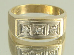 10k Yellow Gold with 3 Stones Vintage Ring US Size 8.5