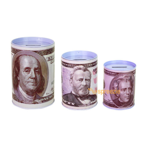 3 Pack $100 $50 $20 Dollar Bill Piggy Bank Coin Money Saving Can Currency Paper
