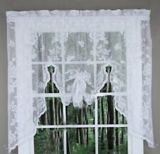Abbey Rose Floral Lace Curtain White, Swag Valance