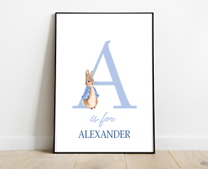 Peter rabbit prints set of 3 letters PERSONALISED nursery prints pink A4