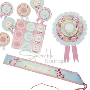 Classy-Hen-Night-Party-ROSETTE-SASH-amp-BADGES-Shabby-Chic-Floral-Vintage-Style