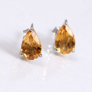 Natural-Citrine-Stud-Earrings-Minimalist-925-Sterling-Silver-Dainty-for-Women