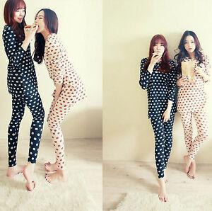New-Ladies-Women-Cute-Cat-Faces-Top-amp-Leggings-Trousers-Pyjamas-Pajamas-ladpj70