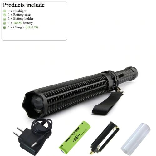 Powerful Tactical LED Flash Light Waterproof Rechargeable Torch Telescopic Bat