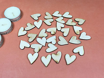 WOODEN FUNKY HEARTS Shapes 2.5cm (x30) laser cut wood cutouts crafts blank shape