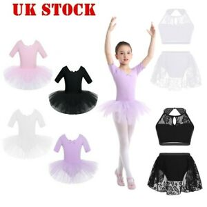 UK-Kids-Girls-Lyrical-Ballet-Tutu-Dress-Short-Sleeve-Dancing-Leotard-Gymnastics