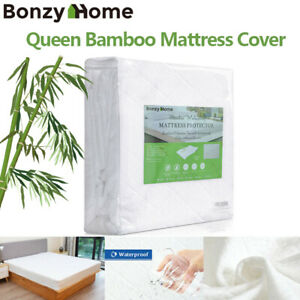Bamboo-Mattress-Protector-Topper-Bed-Cover-Waterproof-Hypoallergenic-Queen-Size