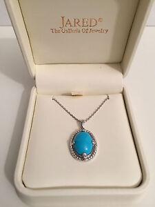 Earthly Treasures Smithsonian Turquoise Diamond Necklace NEW