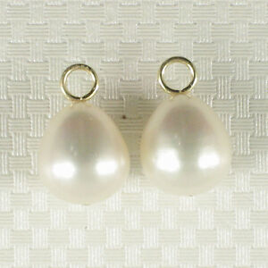 Pair-of-9-5-10mm-White-Pearl-14k-Yellow-Gold-4mm-Eye-Pin-for-Hoop-Earrings-TPJ