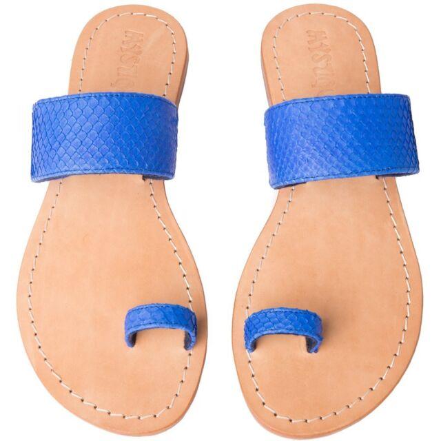 7d25db827 NEW 7 MYSTIQUE Hampton Leather Toe Loop Slides Shoes Sandals Flip Flops  155