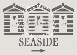Playa cabañas a5 Plantilla Muebles Vintage Shabby Chic Seaside Mylar ❤ 190
