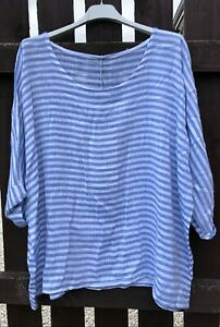 New-Italian-Lagenlook-Striped-Lightweight-Cotton-Linen-Mix-Nautical-Stripe-Top