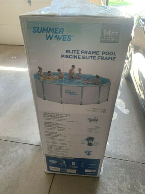 "Summer Waves 14ft X 42"" Elite Frame Pool with Filter Pump, Cover and Ladder CA"
