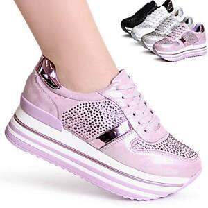 Damas-plataforma-cortos-brillo-zapatillas-zapato-bajo-metalizado