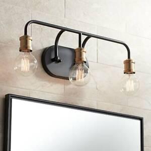 Industrial-Wall-Light-Black-Brass-20-034-3-Light-Fixture-Non-Glass-Bathroom-Vanity