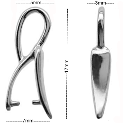 Sterling Silver Pinch Bail 17mm Pendant Bail Findings PK1 PK5