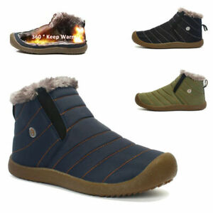 US Womens Mens Ankle Boots Winter Warm  Snow Boots Waterproof Fur Lined Slippers