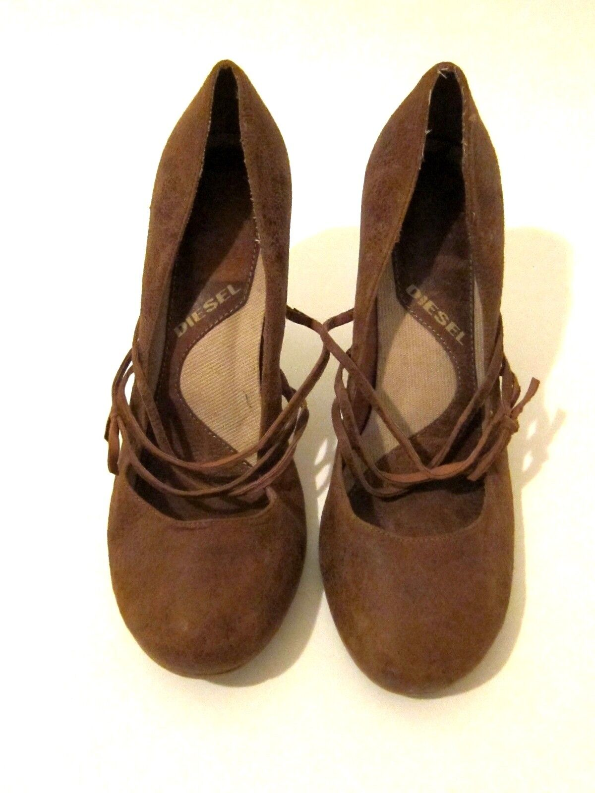NEW Diesel Brown Leather High Heels Pumps Strappy Round Toe Sz US 11