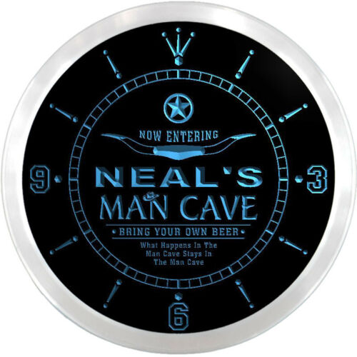 ncpb0335-b NEAL/'S Man Cave Cowboys Beer Bar 3D LED Neon Sign Clock