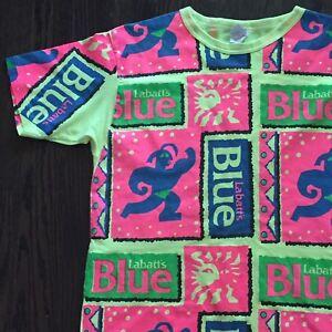 Labatts-Blue-Beer-Canada-Fluorescent-Neon-Aztec-Vtg-80s-Mens-Promo-Tshirt-XL