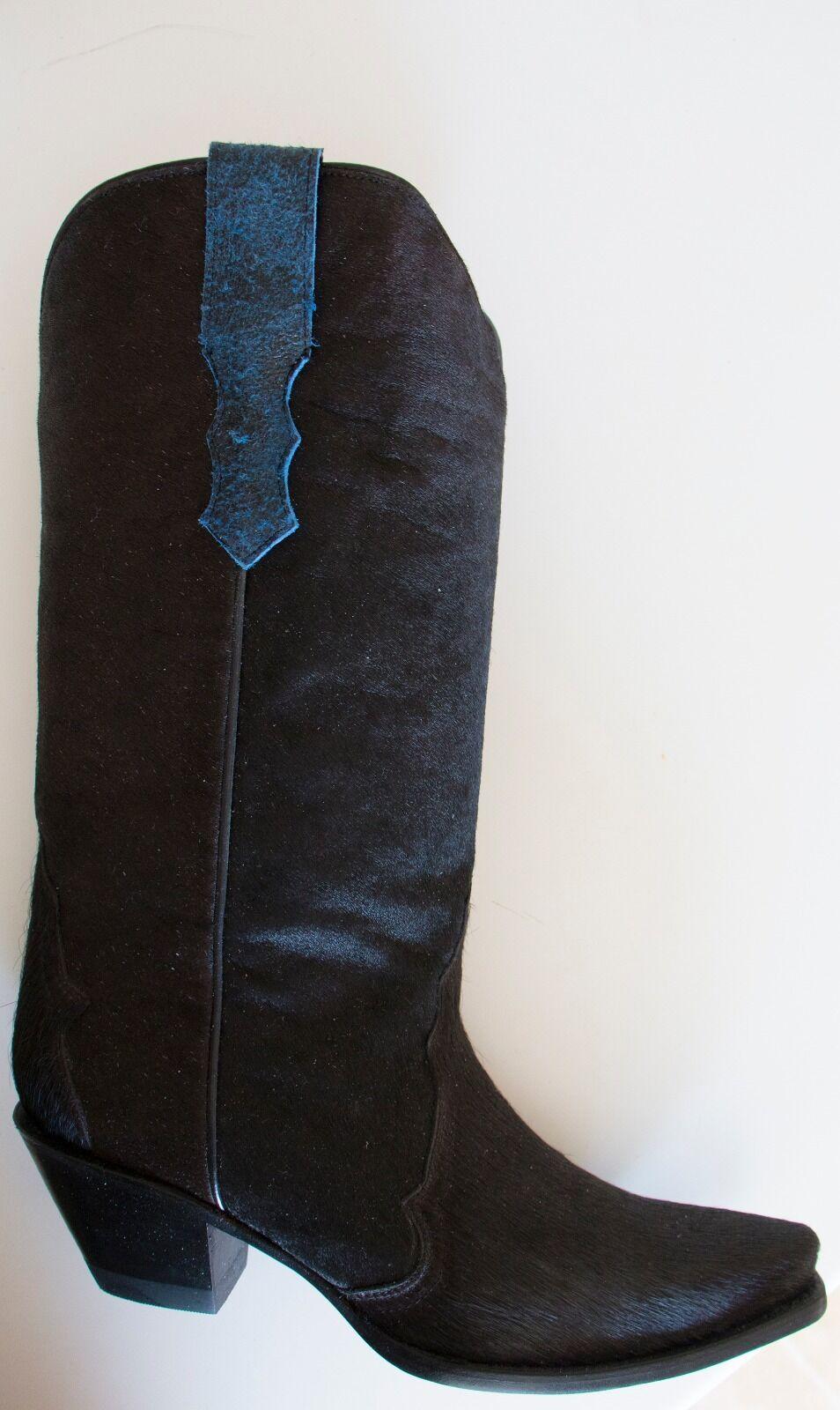 BRAND NEW DONALD PLINER BLACK W/BLUE TRIM CALF HAIR/LEATHER WESTERN BOOTS SZ 10