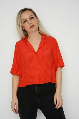 New Women Ex Nobodys Child Red Self Check Front Button Up Boxy Shirt Top Size 10