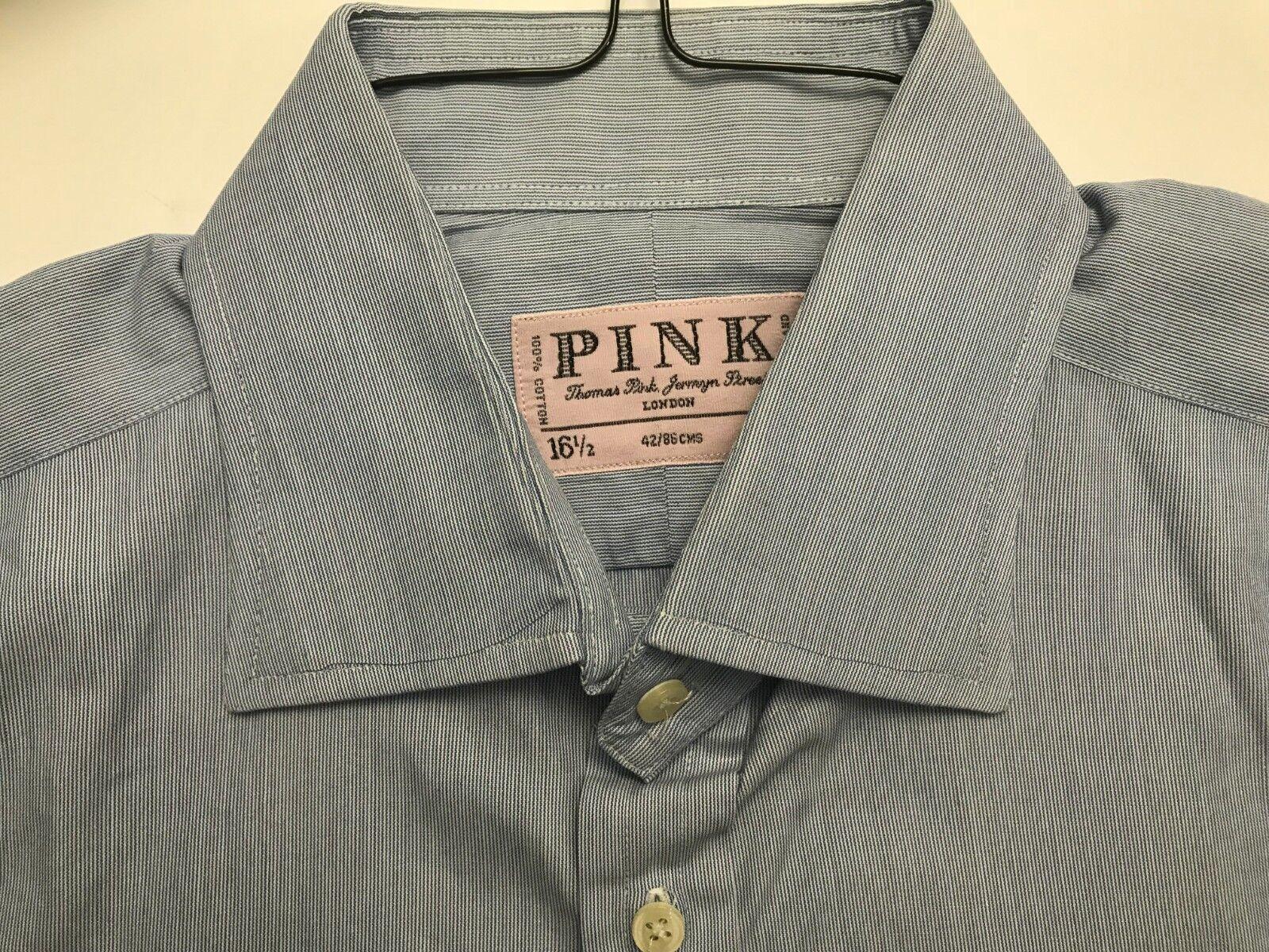 THOMAS PINK LONDON blueE STRIPED 100% COTTON DRESS SHIRT MINT COND SZ 16.5 X 34