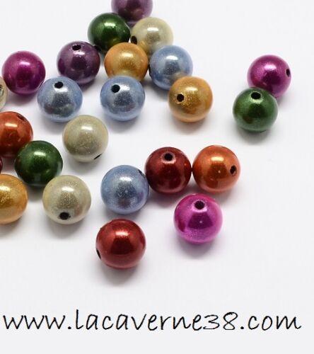 """Lot perles acrylique /""""magique/"""" couleur varié ronde diam 8 mm trou 2 mm création"""