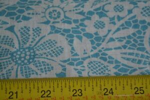 45-034-Long-x-36-034-Wide-Vintage-Feedsack-Cotton-Turquoise-Floral-on-White-N1206