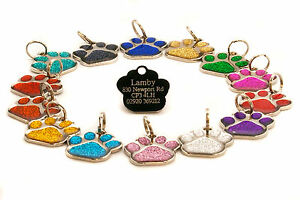 27mm-Glitter-Paw-Dog-Pet-ID-Tag-Disc-Engraved-Free
