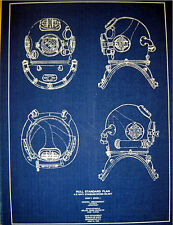 "US Navy Mark V DIVING HELMET 1938 Blueprint Navy Hull Standard 13""x18""   (238)"