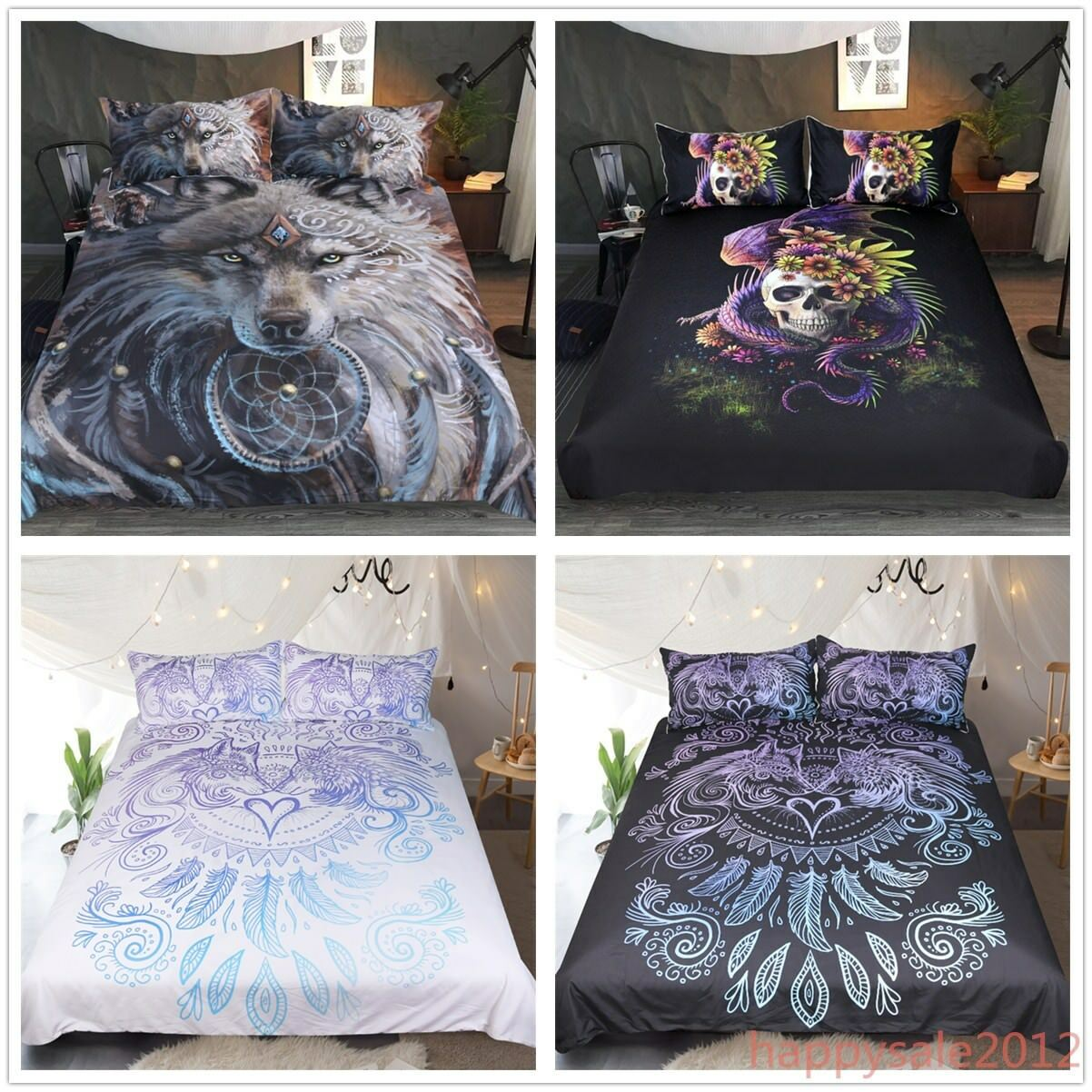 3D Alien Skull Quilt Cover Bedding Set Warrior Wolf Duvet Cover Set Pillow Cases