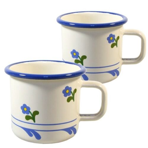 Email Emaille Becher Tasse Kaffee Tee Blümchen 2tlg Camping Outdoor 0,4 L
