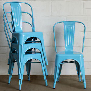 Set of 4 Blue Metal Industrial Dining Chair Kitchen Bistro ...