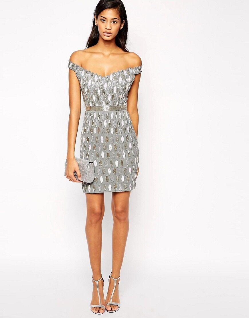 Virgos Lounge Embellished Embellished Embellished Off Shoulder Mini Party Dress Größe UK 10 12 16 NEW | Sonderkauf  | Lassen Sie unsere Produkte in die Welt gehen  841d27