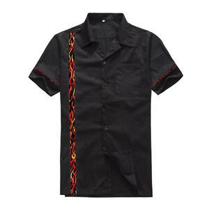 Men-039-s-Cotton-Flame-Panel-Male-Rockabilly-Hiphop-Vintage-Plus-Size-Casual-Shirts