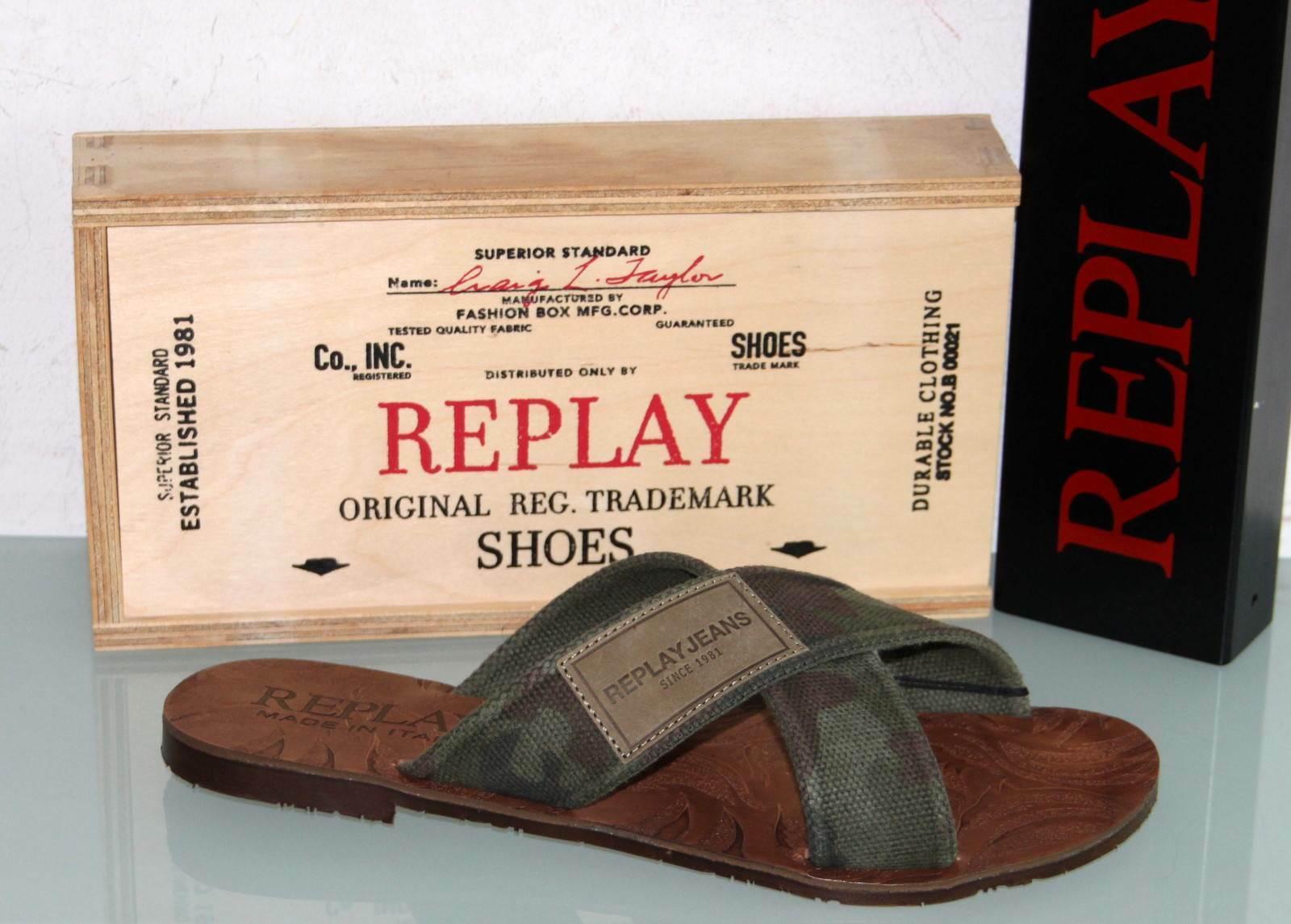 REPLAY Canvas Schlappe Sandale - RANDWIK Camo - Made in  - Neu & Original