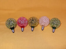 VINTAGE GE CHRISTMAS FROSTED SNOWBALL LIGHT BULBS TESTED & WORK