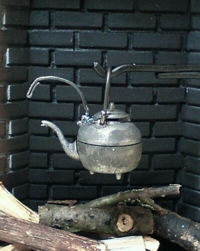 Dollhouse Miniature Harmony Forge Handcrafted Wrought Iron Fireplace Tea Kettle.