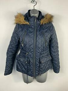 WOMENS-NEW-LOOK-NAVY-BLUE-DIAMOND-QUILTED-PADDED-CASUAL-JACKET-HOOD-COAT-SIZE-8