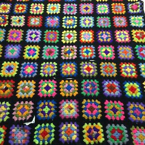 VTG-Afghan-Crochet-Granny-Square-42-034-x72-034-Blanket-Handmade-Throw-Bed-Couch-Quilt