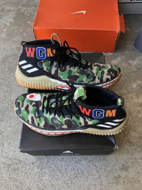 best loved 8cff8 f36af Adidas Dame 4 A Bathing Ape Bape Green Camo Size 11 100% Authentic Used