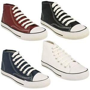 enfants-garcons-filles-Spot-On-montant-toile-Baskets-a-lacets-chaussures-plates