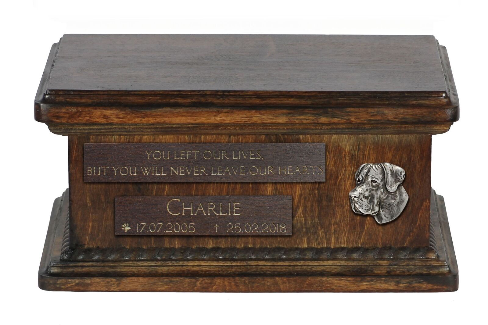 Great Dane uncropped - wooden urn for dog's ashes, low model, Art Dog