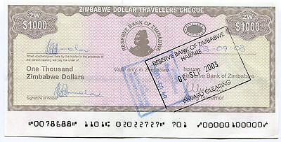 Travellers Cheque Set A UNC Rare Free Shipping P15+P17 Zimbabwe 2003 2