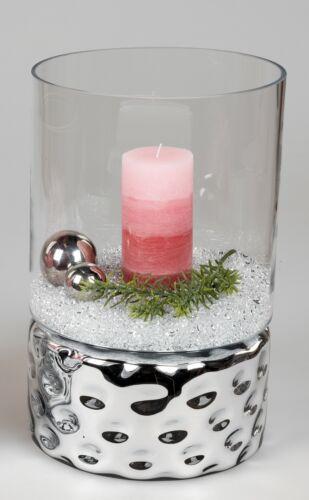 Kerzenhalter Deko Gefäß DOTS Zylinder H 37cm silber Glas Formano Windlicht
