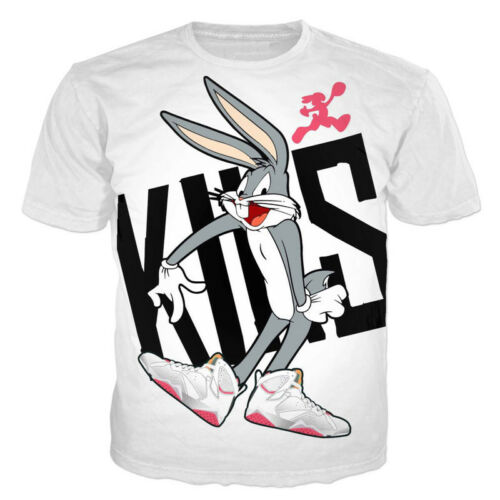 Cartoon Womens//Mens Bugs Bunny Wear Sneakers Funny 3D Print Casual T-Shirt Tee
