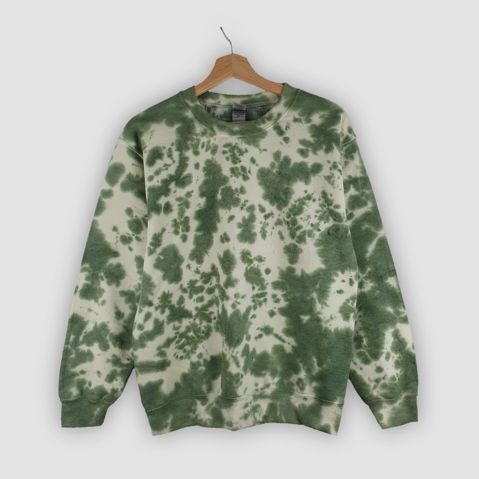 Khaki Green TIE DYE SWEATER Hoodie Dyed tiedye New Unisex Festival Jumper UK