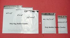 15 POLY BAG + 8 POLY BUBBLE POSTAL MAILING ENVELOPES ~ MIXED LOT OF 5 SIZES ~
