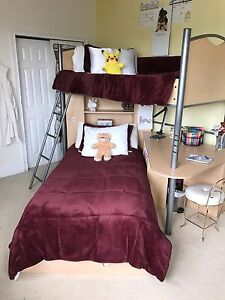 Bunk Loft Bed With Desk Includes Both Mattresses 3 Drawers Under Bottom Bed Ebay